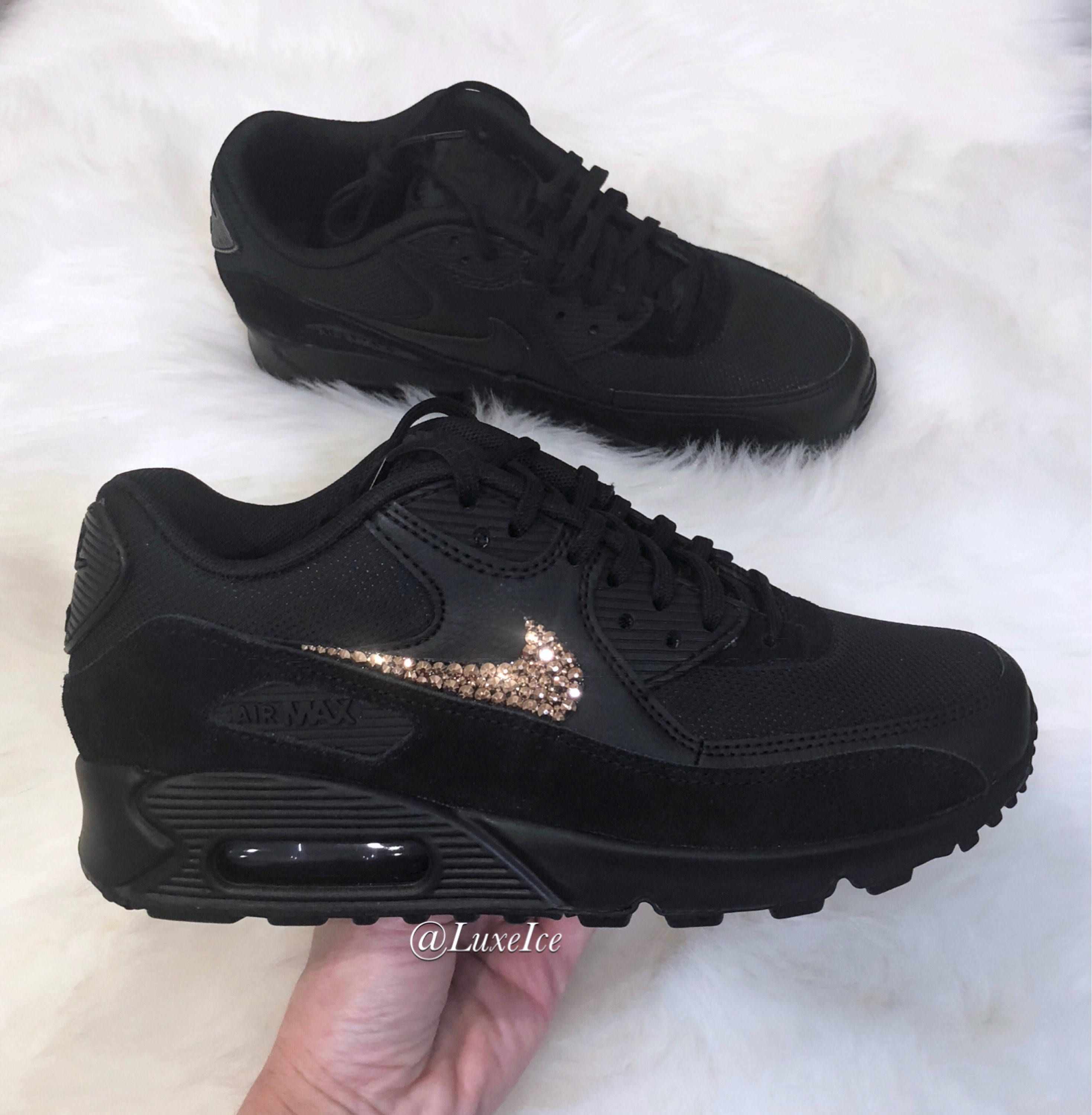 Nike Air Max 90 Black customized with Rose Gold SWAROVSKI®  39b4f2ed1c23