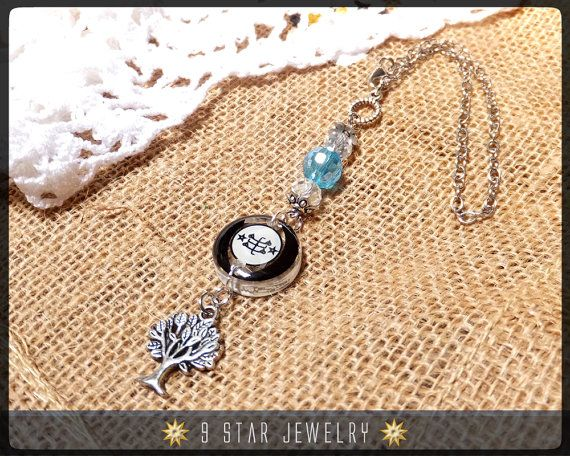 Bahai Ringstone Symbol Rear View Mirror Charm By 9starjewelry