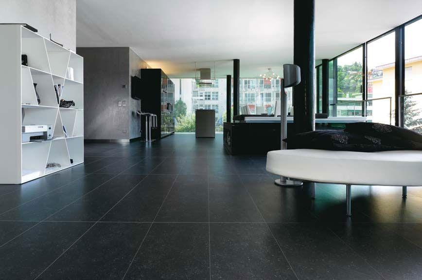 Zwart tegel kerlite living woonkamer pinterest - Woonkamer in zwart ...