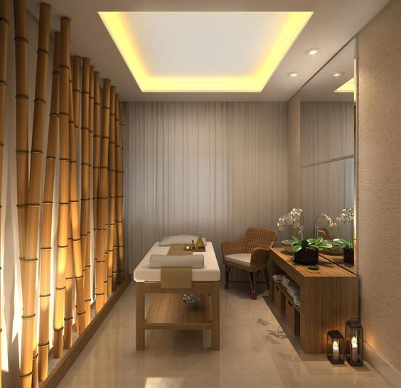 Bamboo spa room, window covering wall to wall, indirect lights from false celing,big and plain mirrows , earth elements to give to this room peace and relaxation
