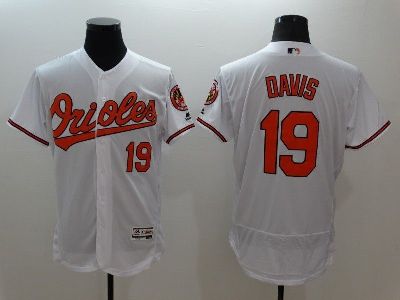 2016 MLB FLEXBASE Baltimore Orioles 19 Davis White Jerseys