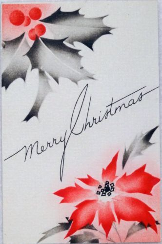 #763 30s Art Deco Poinsettias- Vintage Christmas Greeting Card