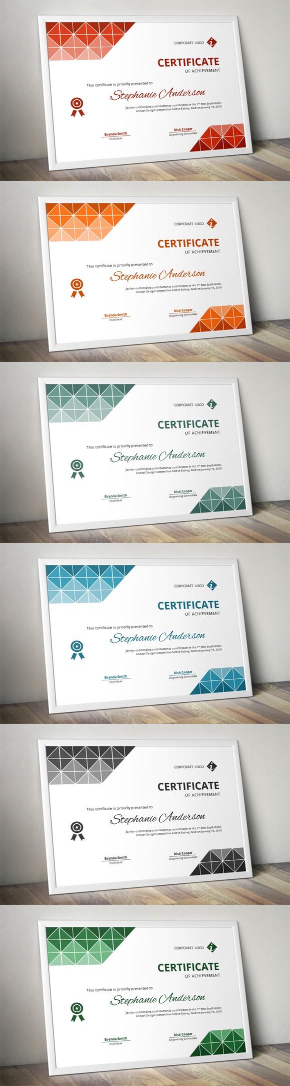 certificate templates triangles docx word program