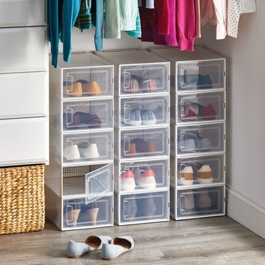 Mdesign Plastic Closet Storage Bin Shoe Box With Side Opening Panel Metal The Effective Pictures We Offer You In 2020 Closet Storage Bins Closet Storage Storage Bin