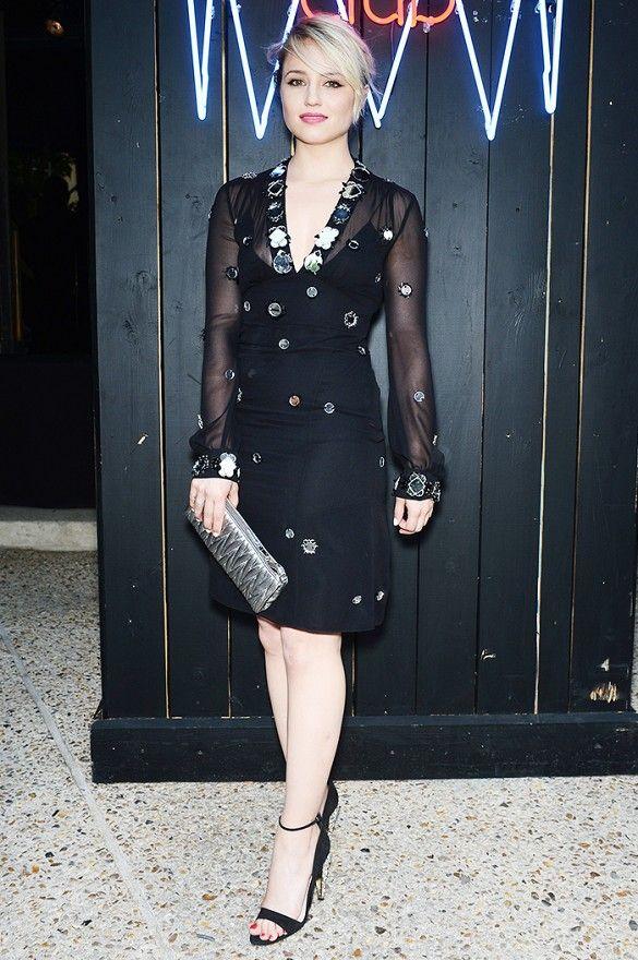 6f554068ef84 Dianna Agron wears a Miu Miu long sleeve dress with mirror embroidery