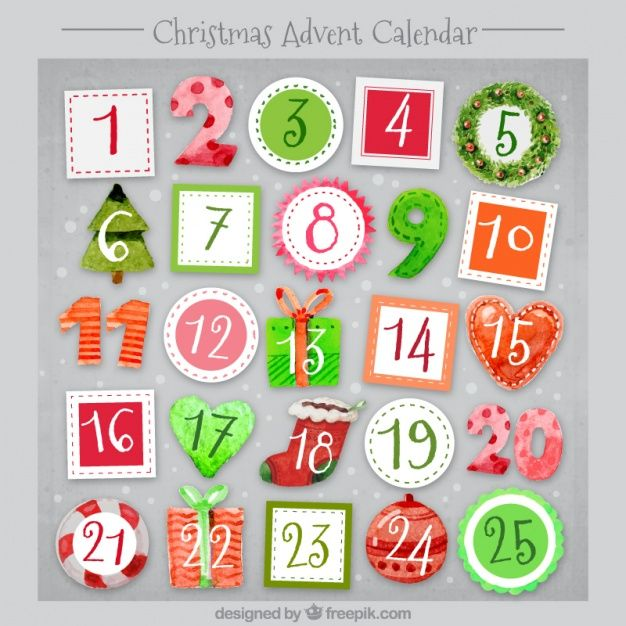 Download Christmas Watercolor Advent Calendar For Free Calendario De Advento Aguarela De Natal Ideias Futuras
