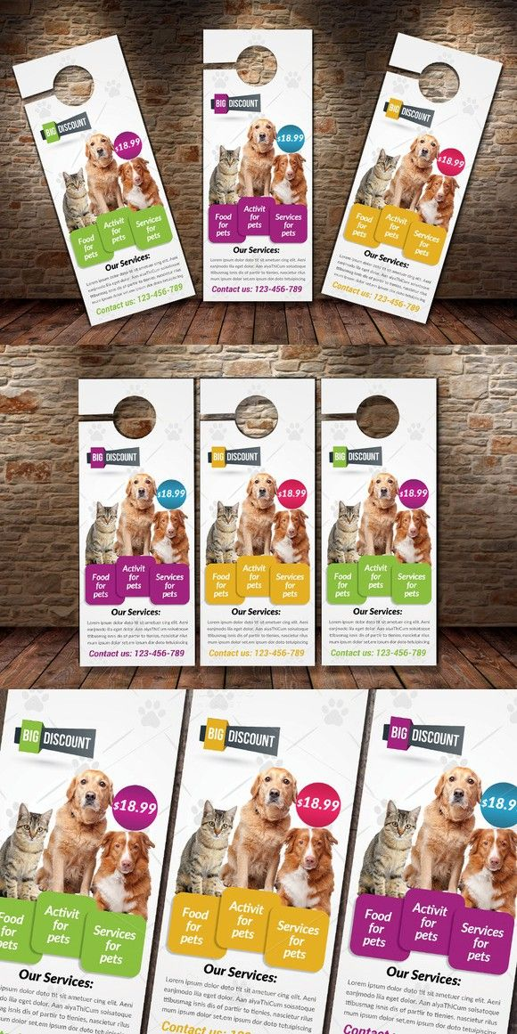 Pet Shop Business Door Hanger Stationery Templates