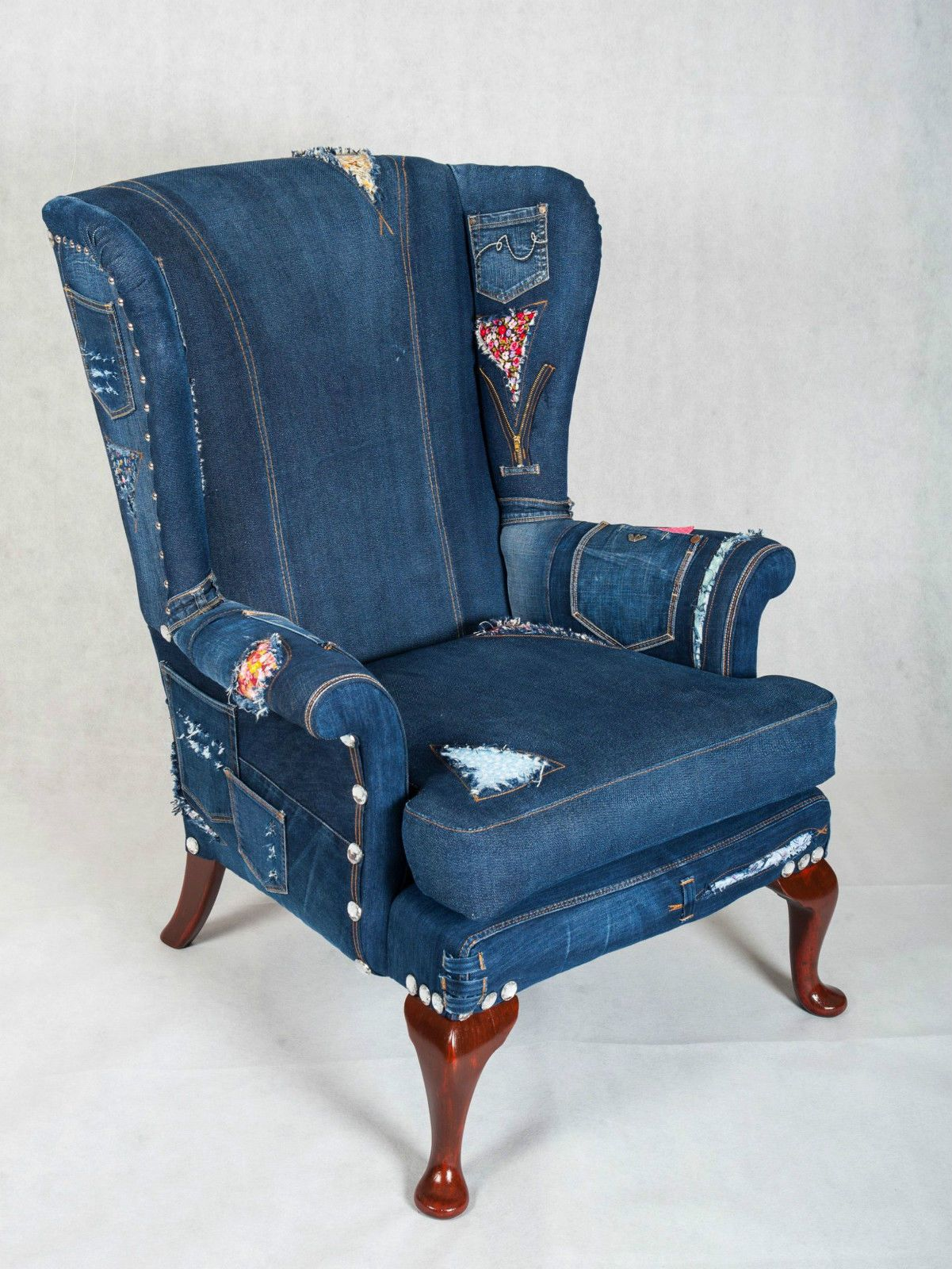 Denim Jeans Wingback Armchair Parker Knoll sofa chair ...