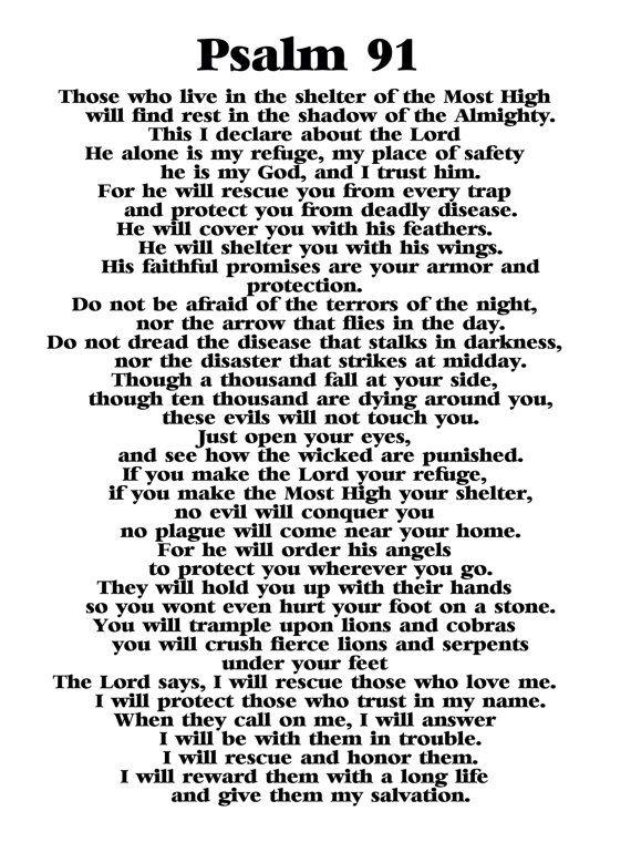 Pin by Elaine Blake on Jesus | Psalm 91, Bible psalms