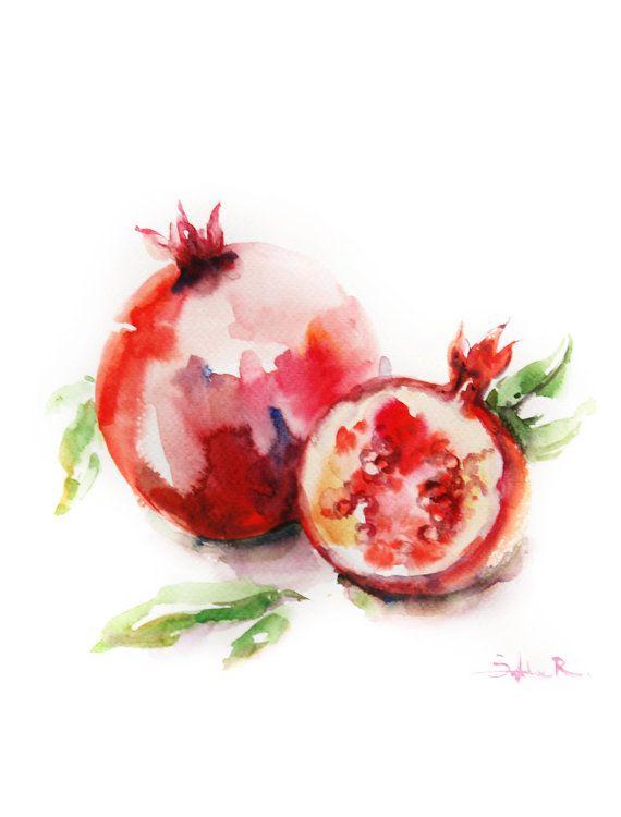 Still Life with Pomegranates Watercolor by CanotStopPrints on Etsy