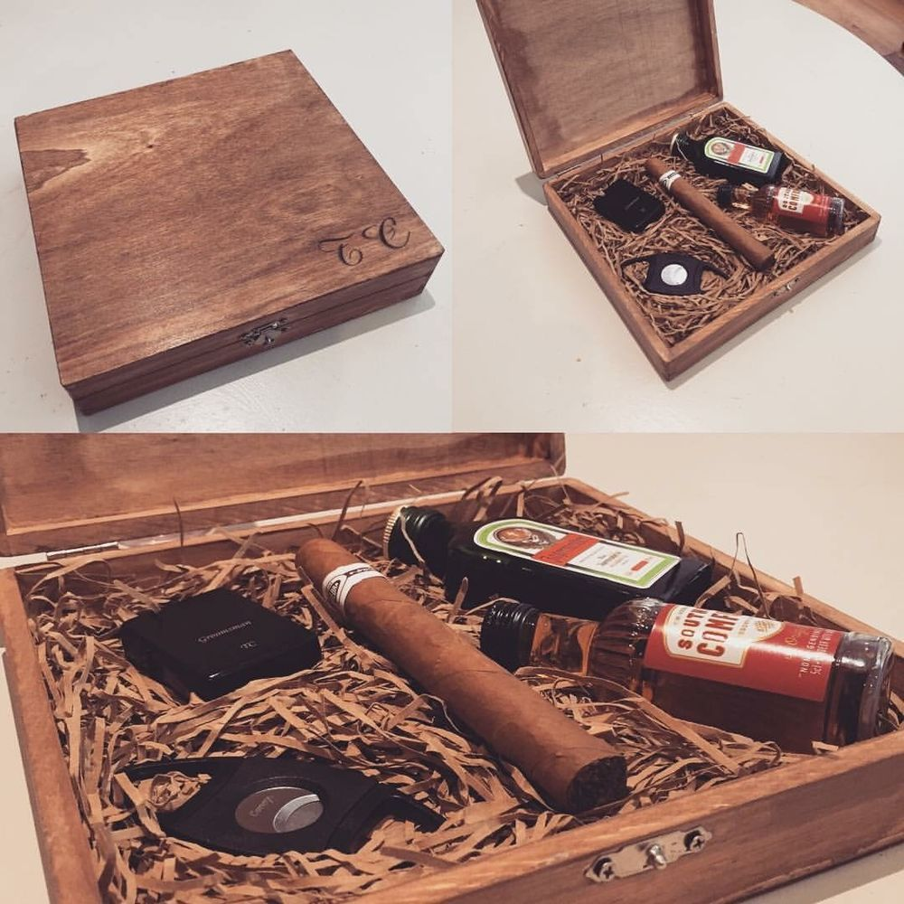 Groomsmen Usher Best Man Rustic Cigar Gift Box