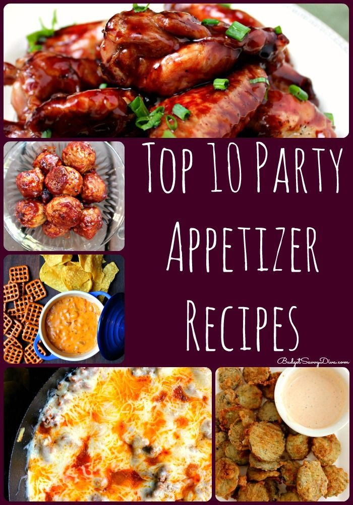 Best recipes for appetizers - my family has LOVED each one :) Top 10 Party Appetizer Recipes Roundup #recipe #appetizer #budgetsavvydiva via budgetsavvydiva.com