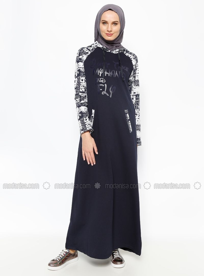 Sports hooded dress navy blue bwest hijab style turkish fashion