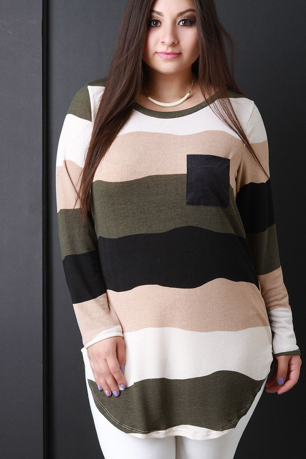 Suede Pocket Striped Long Sleeve Top