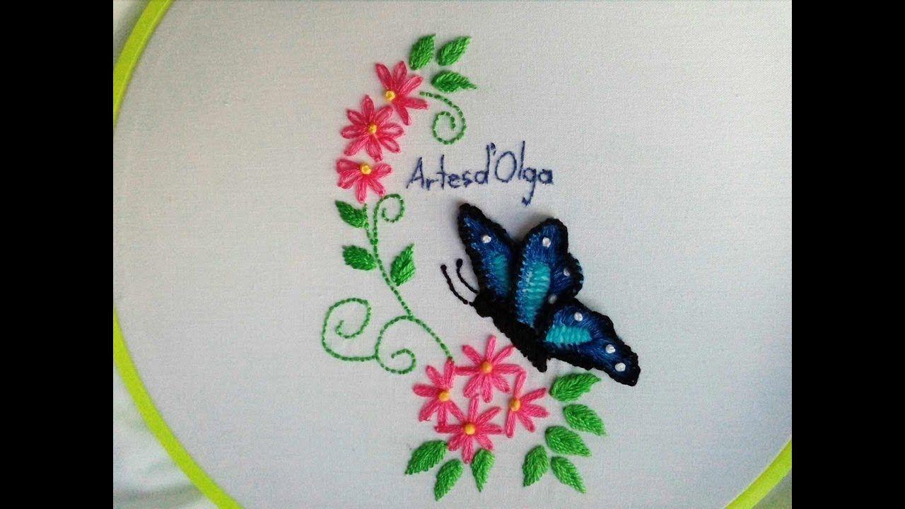 3D Butterfly Embroidery  Mariposa bordada en 3D  Hand Embroidery ...