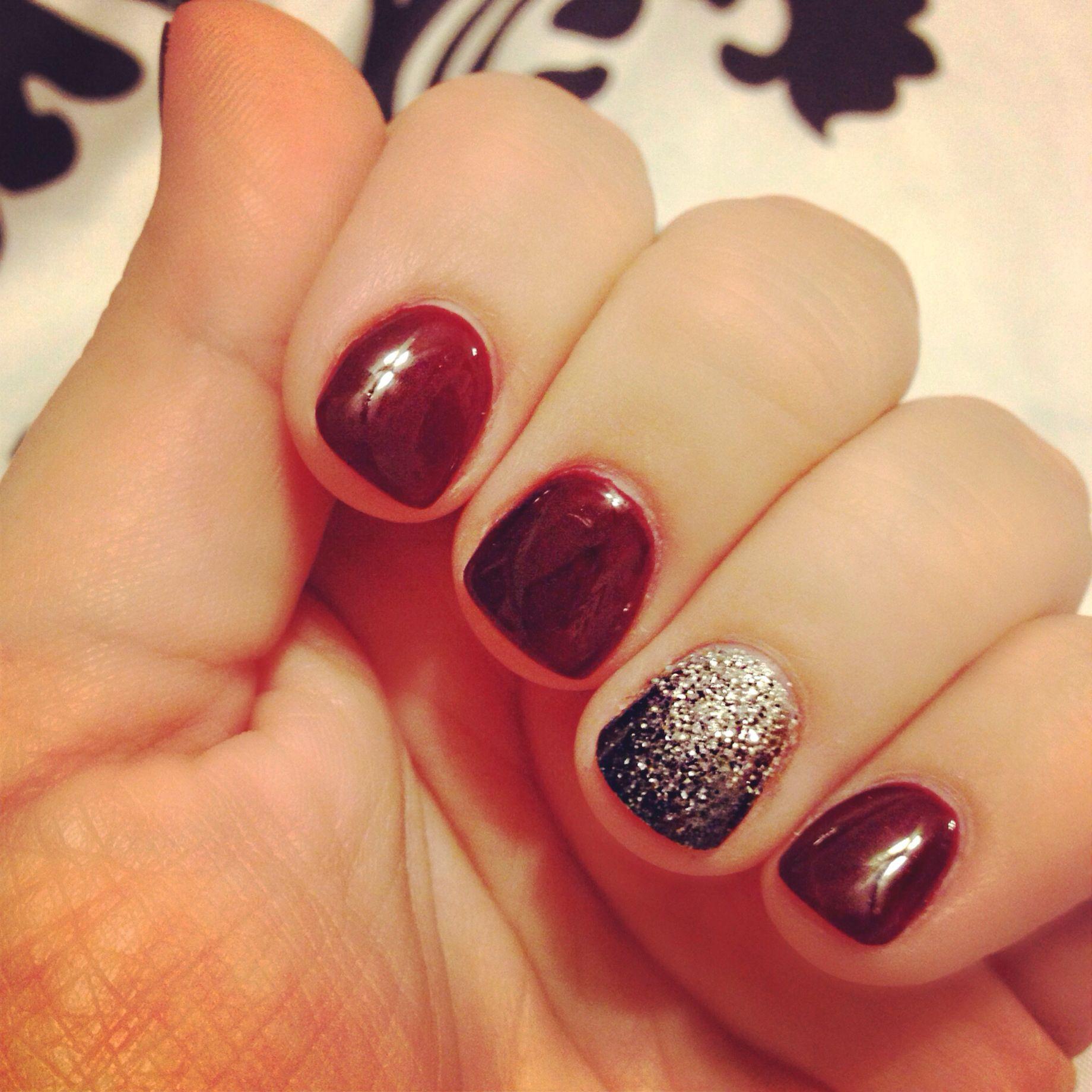 redwine #darkred #gelmanicure #ombreglitter | Nail art | Pinterest