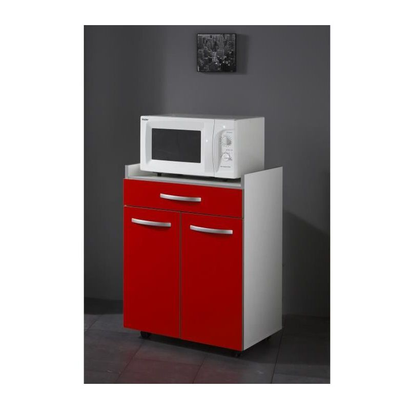Harmony Meuble Bas Micro Ondes L 60 Cm Rouge Mat Filing