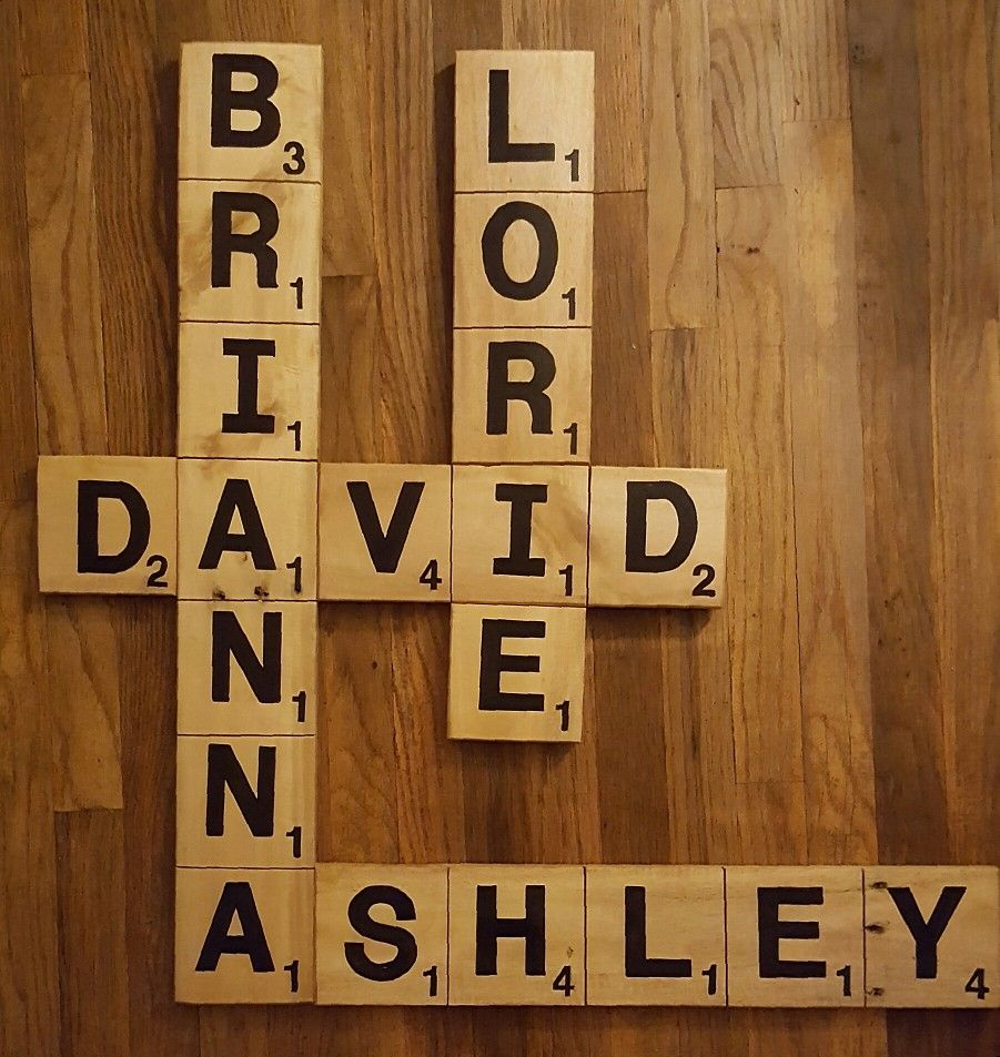 Scrabble Family wall art was created from pallet wood by the Reuse Dude.