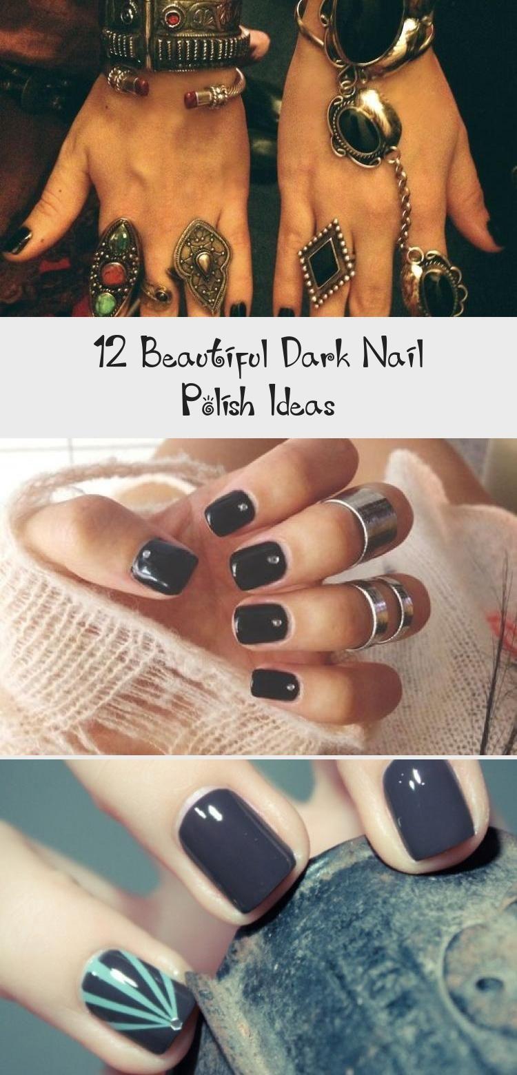 12 schöne dunkle Nagellack-Ideen – Nail Art – dunkelblaue Nägel mit Akzentnagel #MarbleAccentNails #AccentNailsMiddle #AccentNailsFrench #FloralAc …