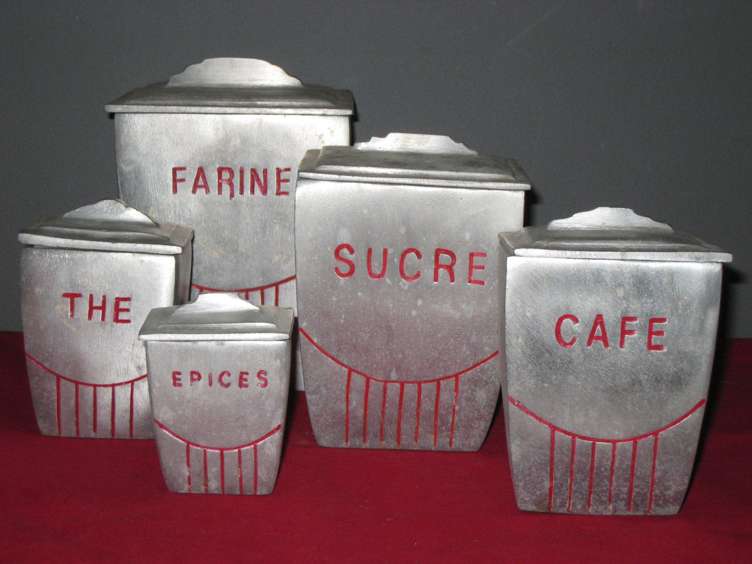 French Metal Canister Set Rare Art Deco Heavy Cast Aluminum Gratuated Canister Set Antique Vintage French Metal Canister Metal Canisters Canister Sets Rare Set