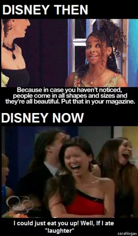 My mom told me that Demi Lovato commented on the second panel that it involved eating disorders. I'm pretty sure that Disney never played that episode again. The first panel is a show I still watch. I'm not sure what show the second panel is, but I never watched it.