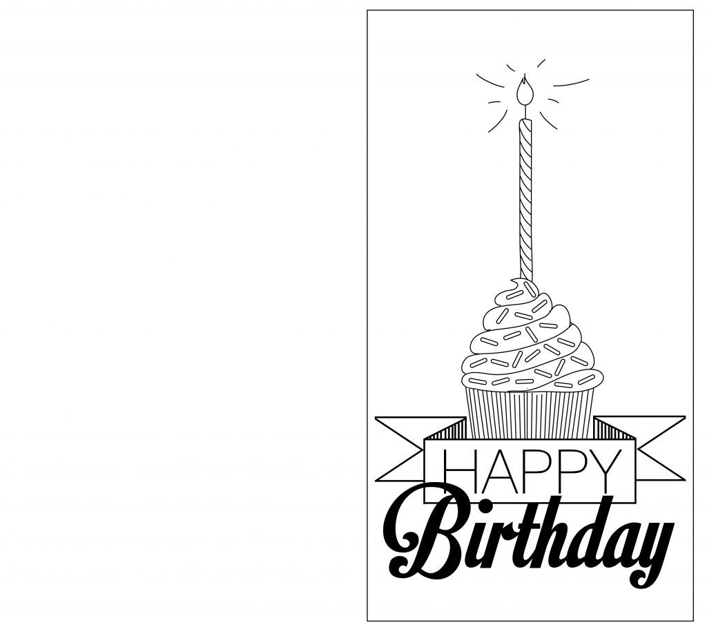 Card Invitation Design Ideas Black And White Birthday Cards Rectangle Potrait Folded Cupcakes W Birthday Card Template Birthday Cards Card Templates Printable