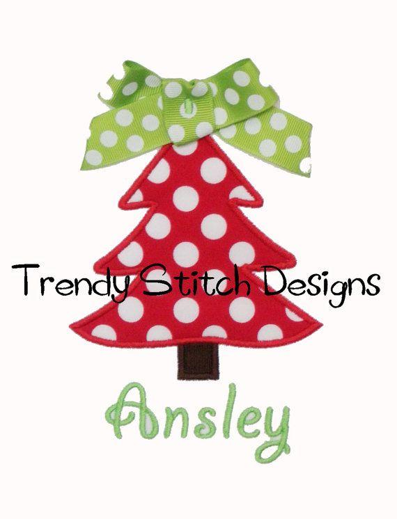 Christmas Tree Applique Design Machine Embroidery Design Instant Download Machine Embroidery Designs Christmas Applique Embroidery Designs