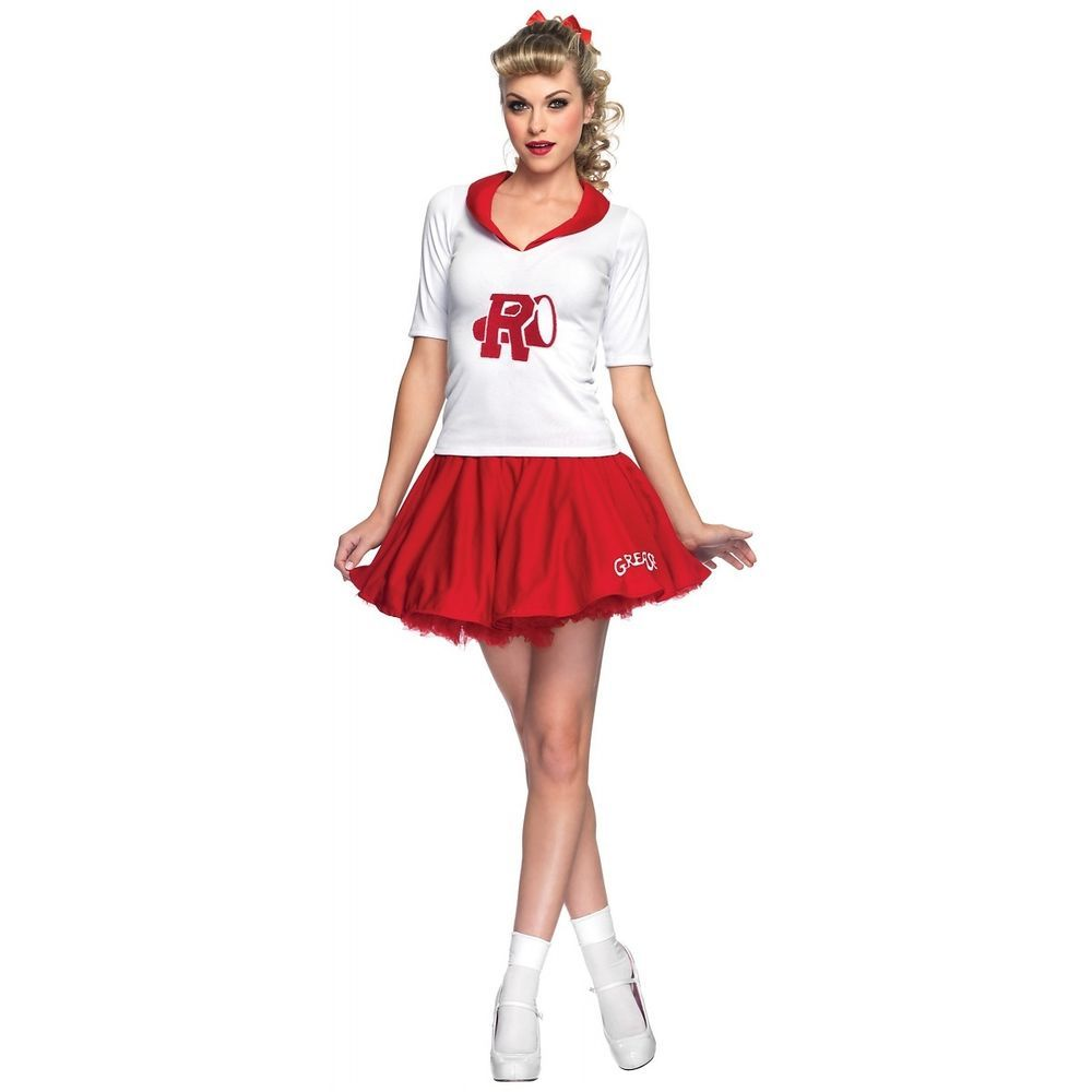 Women/'s Cheerleader Fancy Dress Costume Sandy Grease Rydell High Hen Theme Party