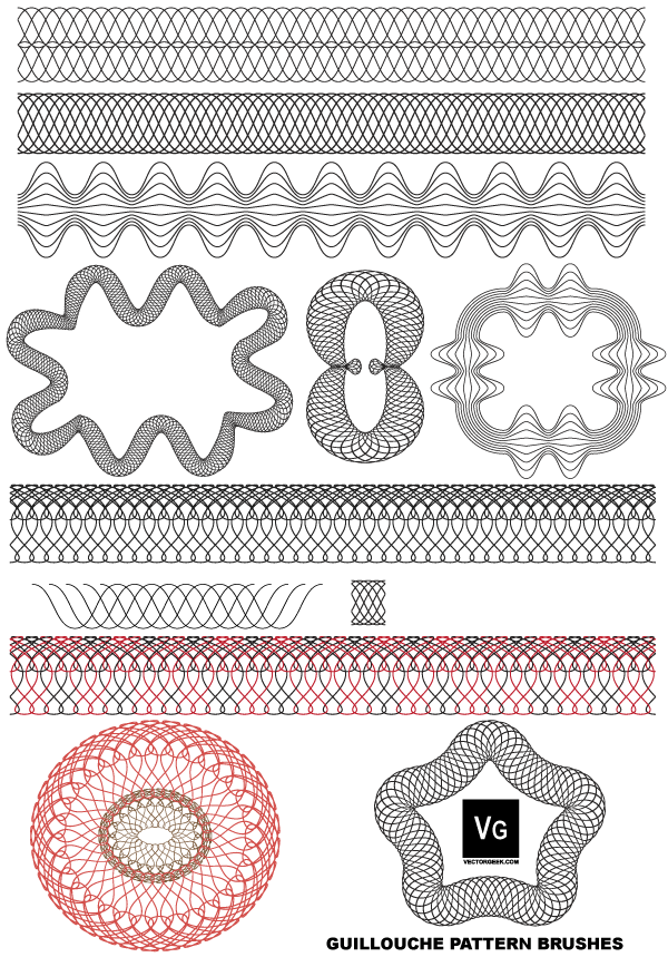 Free Vector Guilloche Patterns Illustrator Brushes | Free