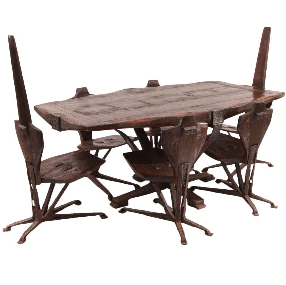 Brutalist Steel And Pine Dining Table And Chairs  Pine Dining Cool Pine Dining Room Table And Chairs Design Inspiration