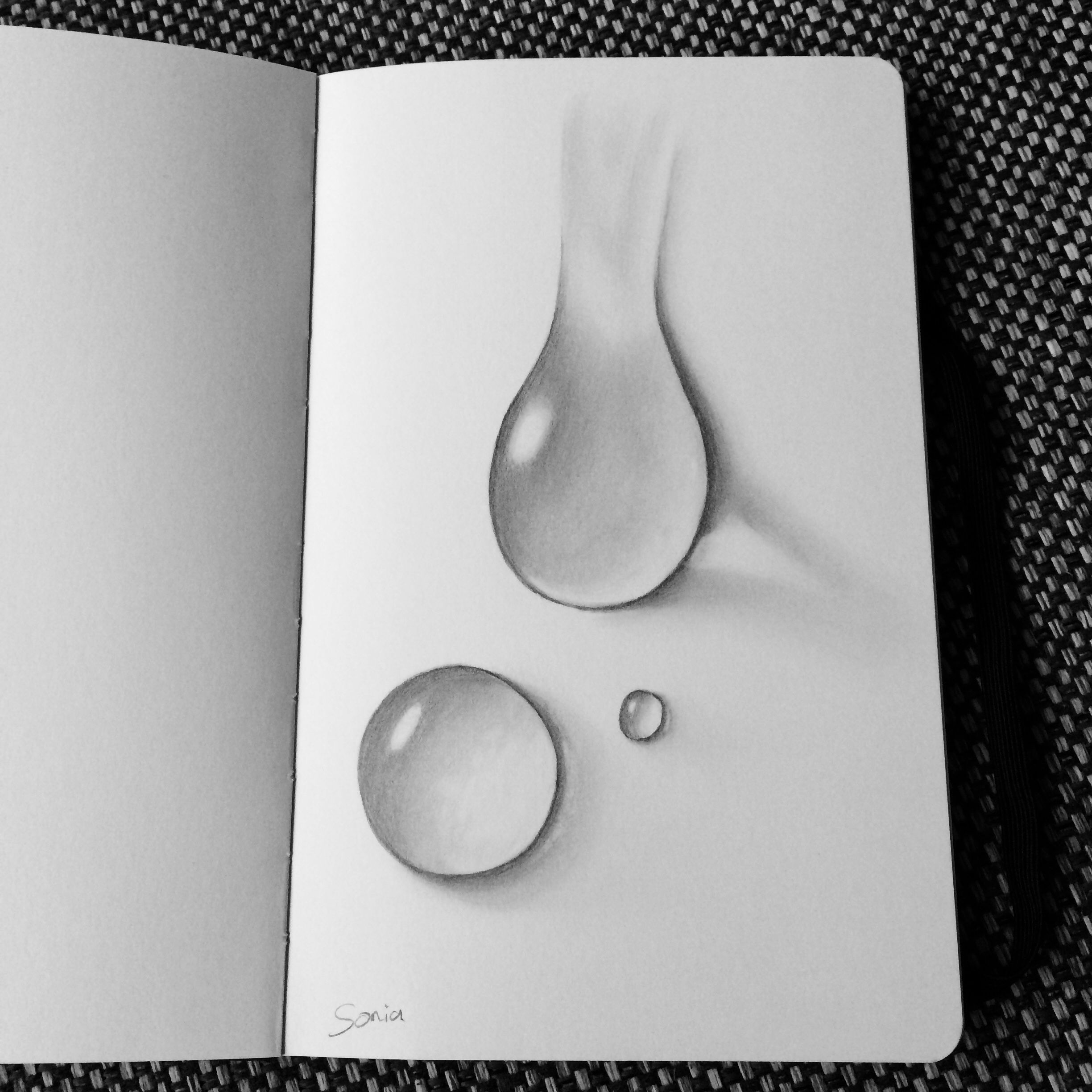 Pencil drawing water droplets by sonia