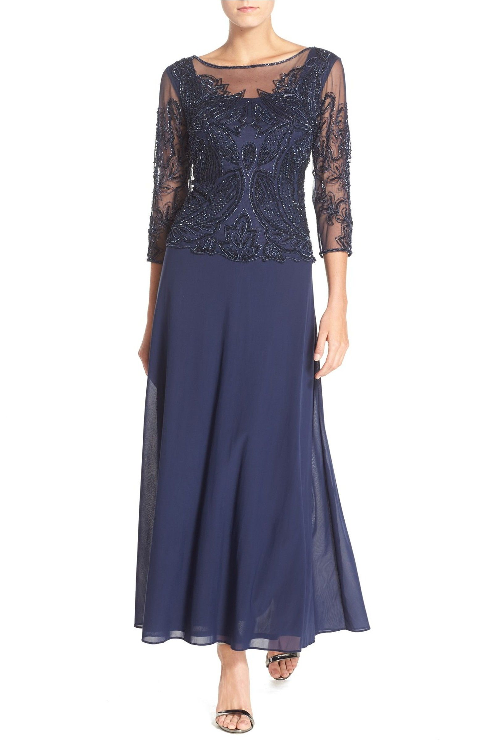 Mother wedding dresses petite  Embellished Mesh Gown  Petite Gowns and Bride dresses