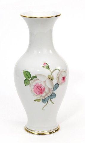 "Vase, Shape ""Neuer Ausschnitt"", White rose with purple centre, gold rim, H 24 cm"