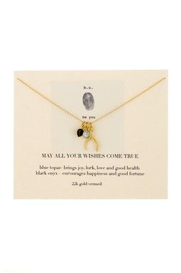 22K Gold Plated Sterling Silver May All Your Wishes Come True Charm Necklace