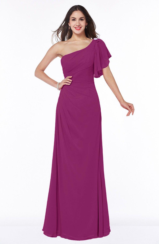 Raspberry Bridesmaid Dress - Modern A-line Asymmetric Neckline Short ...