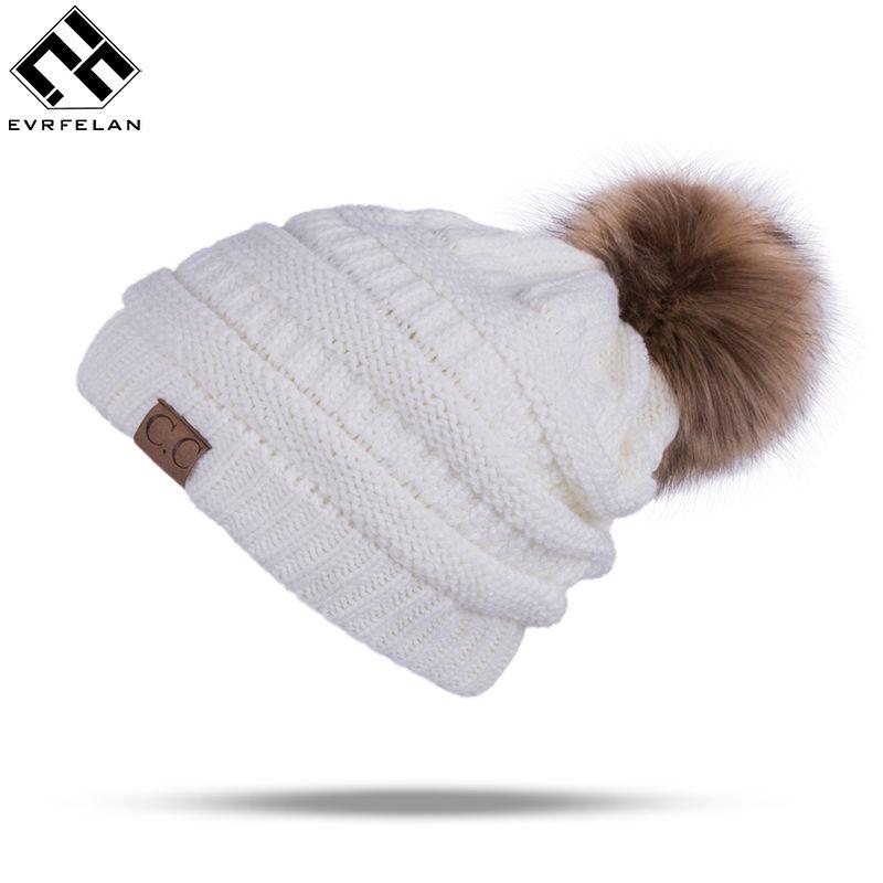 ef0c46f88a8  12.34 - Nice Winter Brand Female Ball Cap Pom Poms Winter Hat For Women  Girl  S Hat Knitted Beanies Cap Hat Thick Women S Skullies Beanies - Buy it  Now!