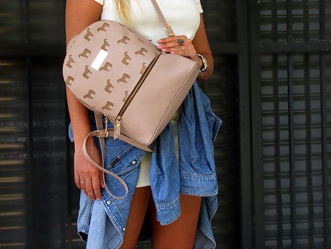 Pink horse print backpack
