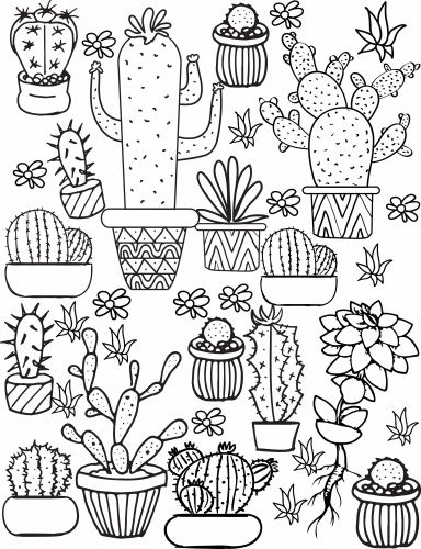Cactus and Succulent Printable Adult Coloring Pages Adult coloring