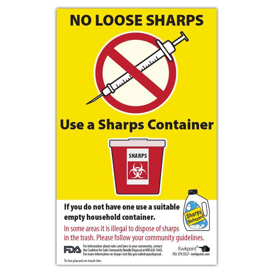 No Loose Sharps Poster Visual learning, Health literacy