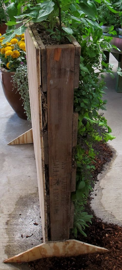Pallet garden with feet built to stand vertically or hanging on shed??  Strawberries, herbs, beans?