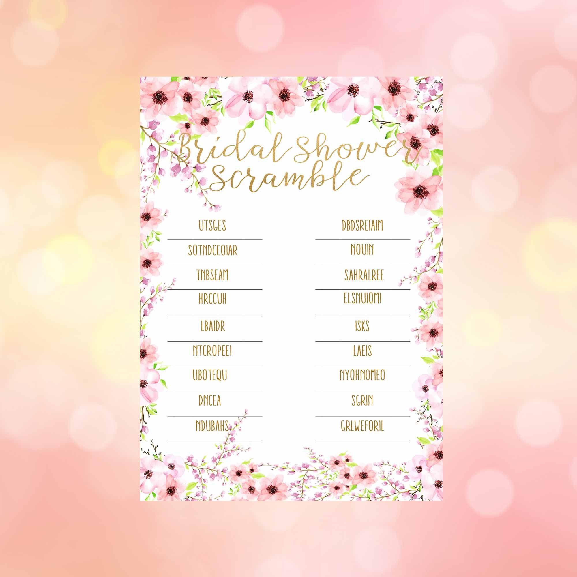 Printable Bridal Shower Games Bridal Shower Word Scramble