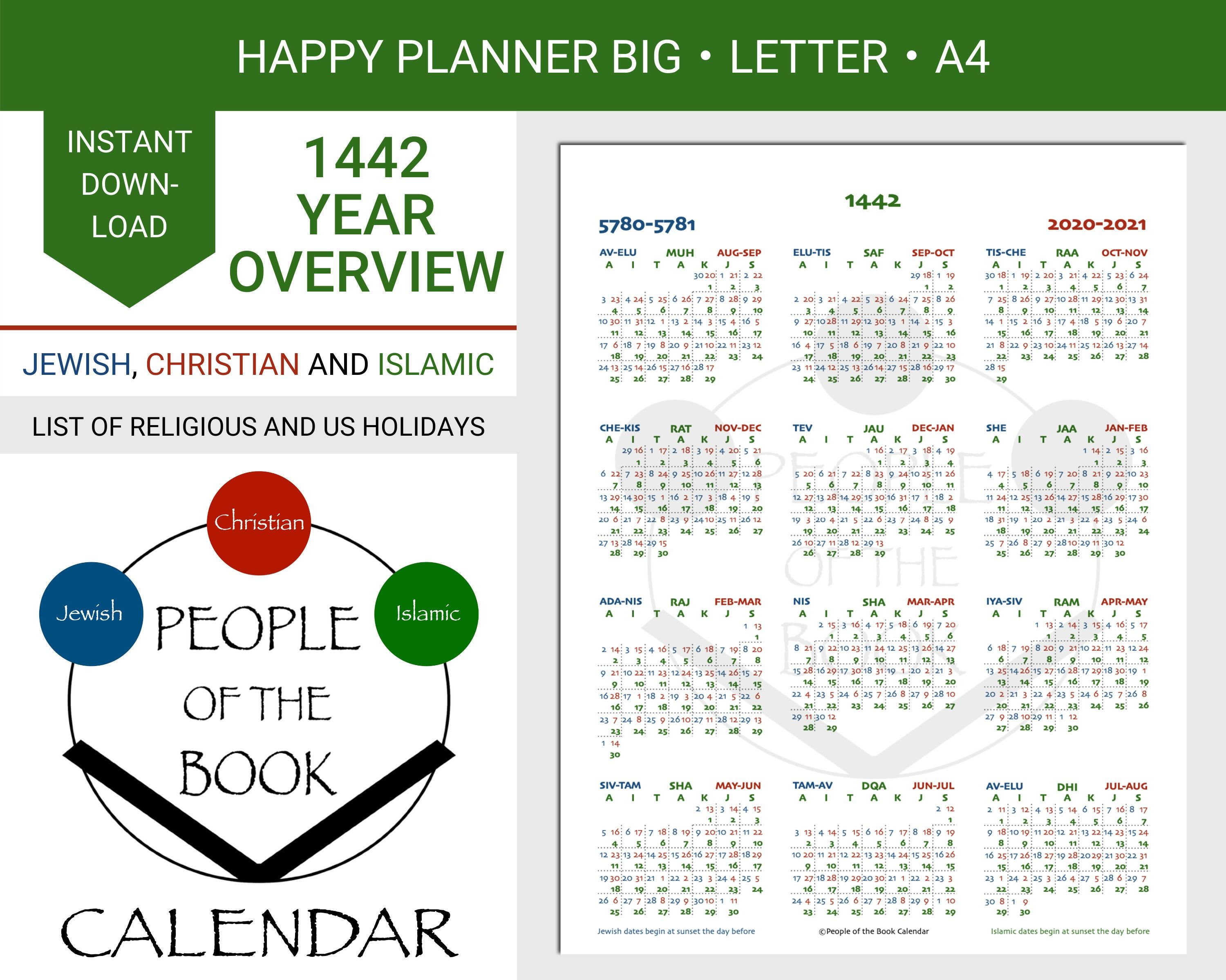 1442 Ah Islamic Hijri Year Overview People Of The Book Etsy In 2020 Book People Happy Planner Holiday Lettering