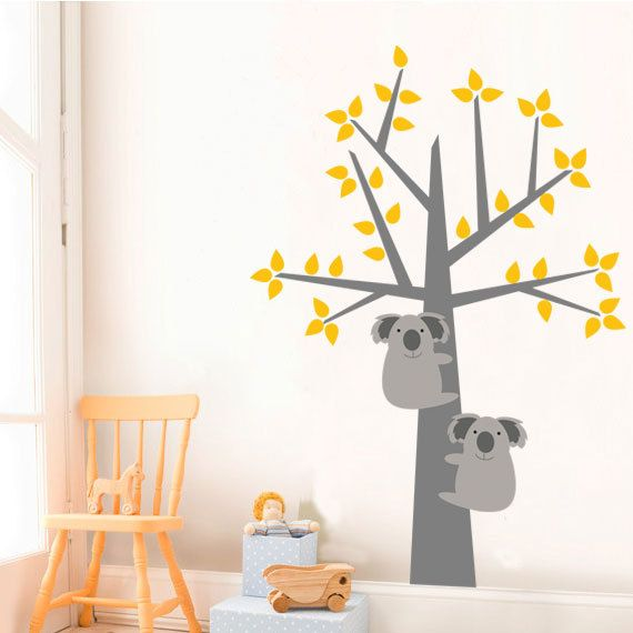 Kids Wall Decals Yellow and Gray Wall Sticker by KidODesignStudio