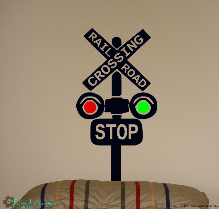 Train Wall Decor railroad train crossing lights children kids vinyl wall art words