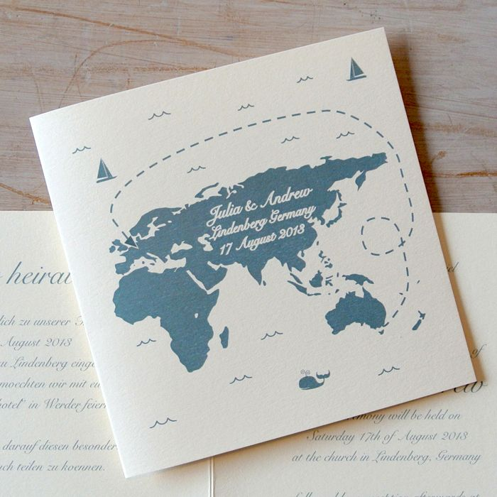 World Map Destination Wedding Invitations