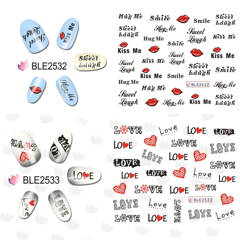 1pcs New Valentine Letter Patterns Water Transfer Nail Art Sticker
