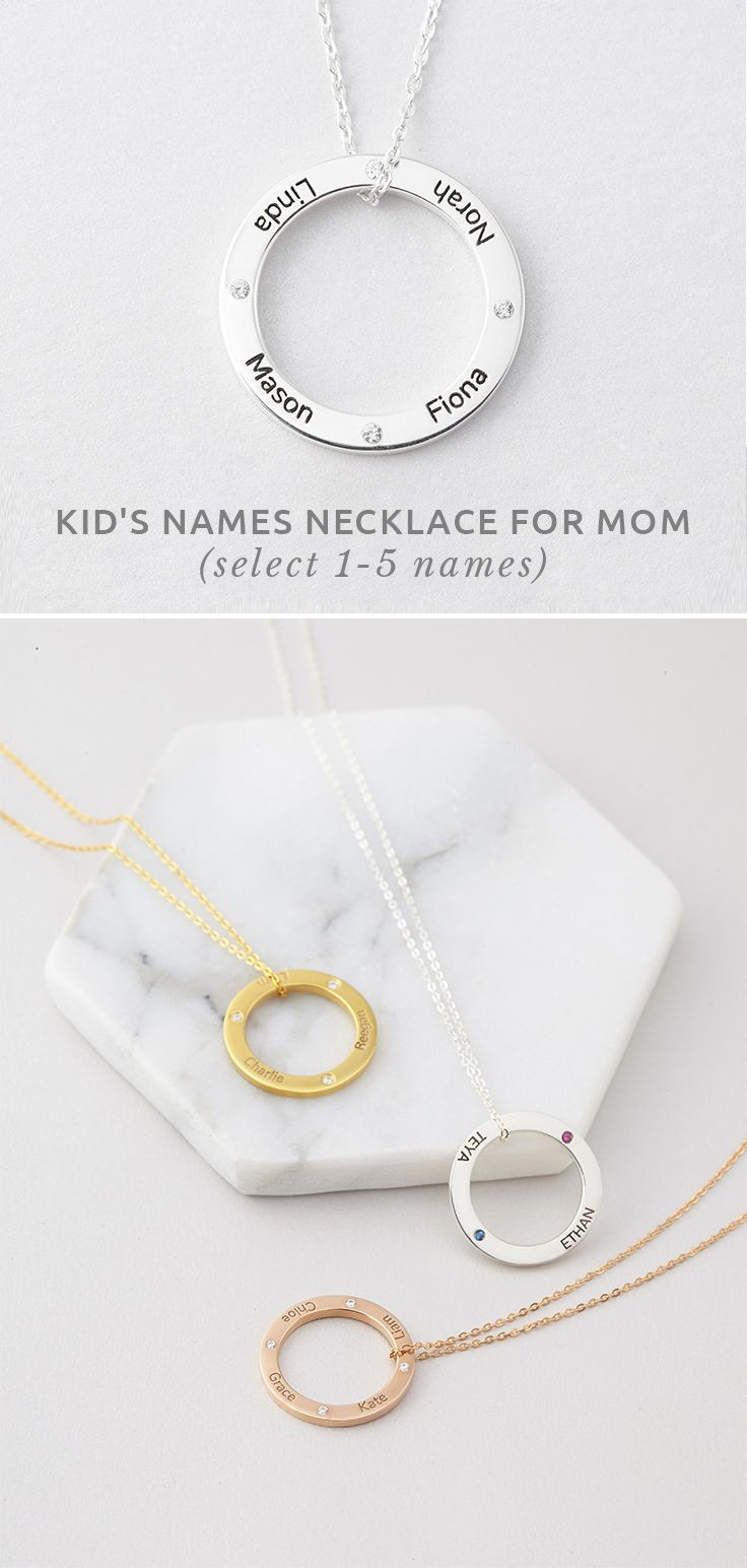 kid name initial necklace disc gold