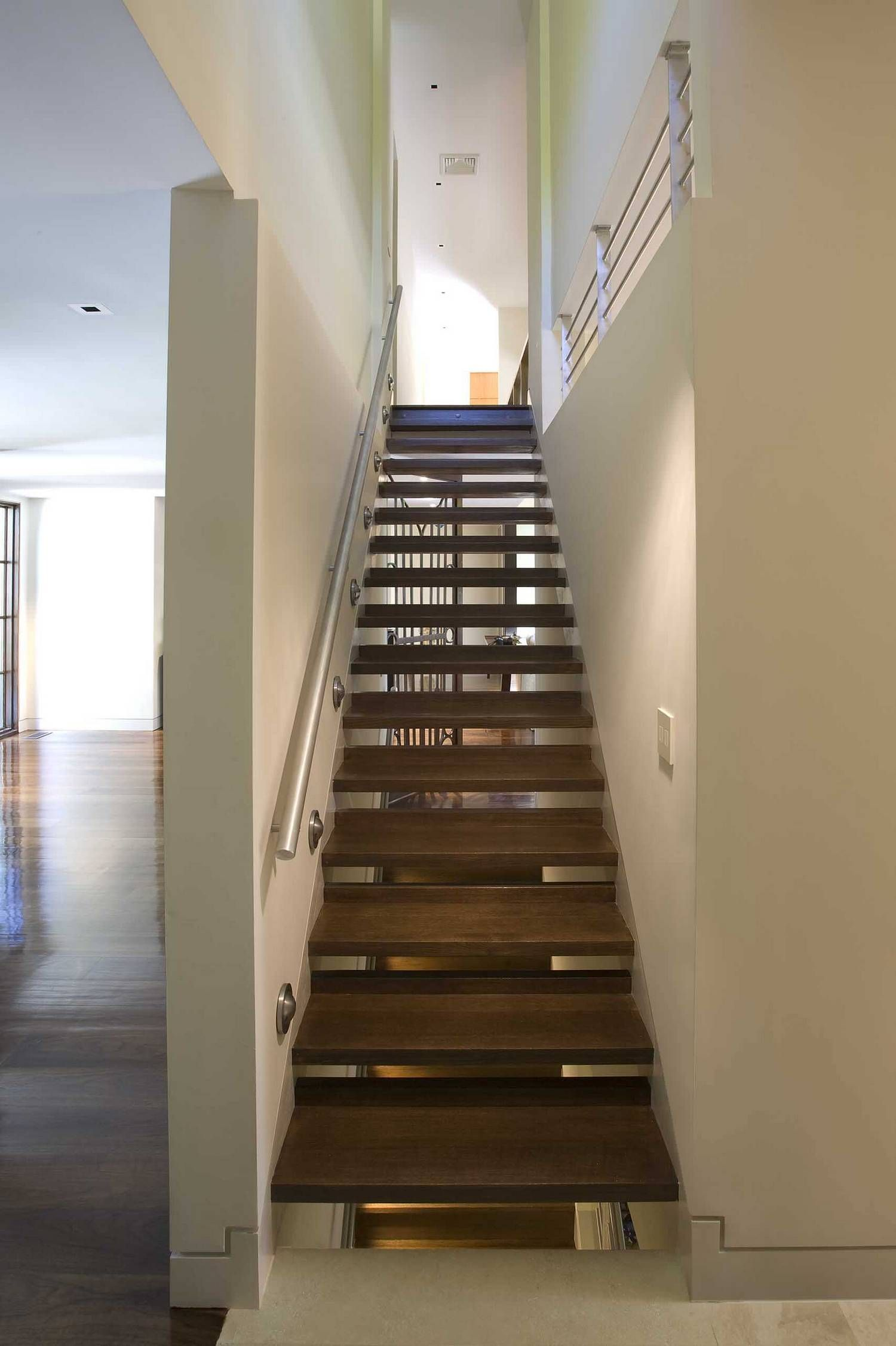 Closed Drywall And Open Stair Usual House Staircase