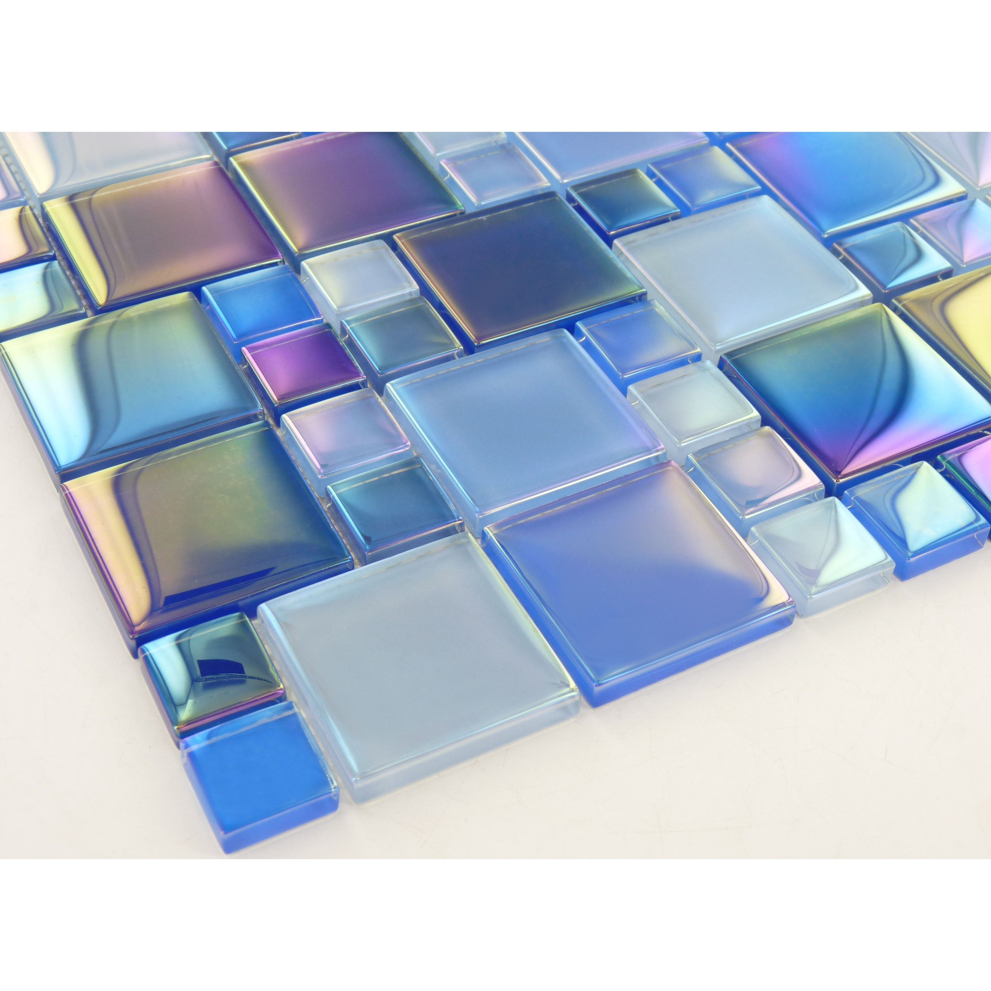 Tesoro Unique Shapes Blue Glass Unique Shapes Tile Glossy Iridescent Keekeluraaqblba Iridescent Glass Tiles Glass Pool Tile Glass Pool