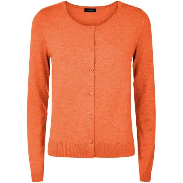 New Look Bright Orange Crew Neck Cardigan ($13) ❤ liked on ...